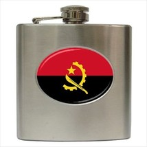 Angola Flag Stainless Steel Hip Flask - $14.75