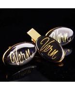 Personalized VERN cufflinks / black gold tie clip set / Monogrammed gift... - $165.00