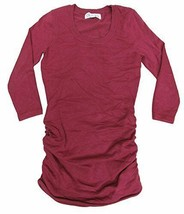 Pink Rose Juniors Red /-Sleeve Ruched-Side Fine-Gauge Pullover S - $24.63