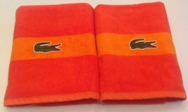 TWO Lacoste bath Beach towels croc Crocodile color block Orange stripe - $54.45