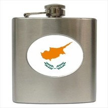 Cyprus Flag Stainless Steel Hip Flask - $14.75