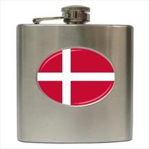 Denmark Flag Stainless Steel Hip Flask - $14.75