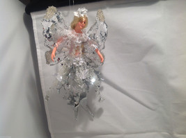 American Silkflower Hanging PE Ice Fairy Angel Silver, Hand Painted Face