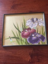 Vtg 70's Asian Japan  Handmade Needlecraft Painting Gold PurpleFlower No... - $24.64