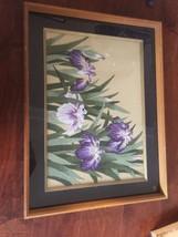 Vtg 70's Japan  Handmade Needlecraft Painting Gold Purple Green Flower N... - $34.54