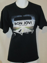 bon jovi tour 2007 rock band  highway art L large blue T shirt  - $29.69