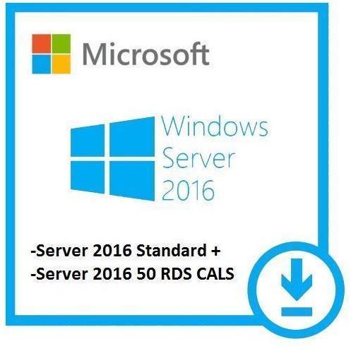 Microsoft Windows Server 2016 Standard + 50 Remote Desktop User Cals