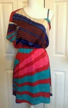 Charlotte Russe Dress Medium One Shoulder Geometric Multicolor - $22.00