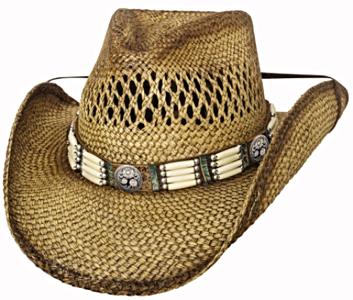 Primary image for Bullhide From Dusk Till Dawn Panama Straw Cowboy Hat Vented Barrel Beads Natural