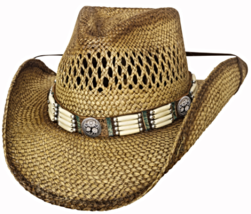 Bullhide From Dusk Till Dawn Panama Straw Cowboy Hat Vented Barrel Beads... - $75.00