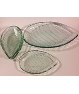 Vintage Green Glass Leaf Plates Serving Platter... - $48.02
