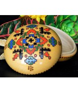 Vintage trinket box carved burnt wood colorful painted lidded round thumbtall