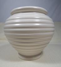 "Vintage Mid Century Hull USA Pottery Cream Ware Ribbed 6"" Urn Vase Plant... - $44.99"