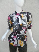 Diane von Furstenberg Blouse Black Mult-Color Silk Blend Floral Wrap Blo... - $46.51