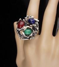 HUge ring / sterling modernist ring / Vintage lapis / Abstract design Si... - $175.00
