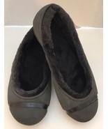 New Crocs Nanook Black Winter Shoes Faux Fur Women Ballet Flats Sz 7 - $31.67