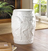 WHITE HORSES CERAMIC DECORATIVE STOOL 17923 - $99.95