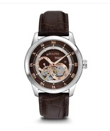 Bulova 92A120 Mens Automatic Watch 21J 42mm Double On-Dial Aperture No Res FreeS - $123.49
