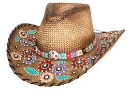 Bullhide Setting The World Panama Straw Cowgirl Hat Whipstitched Brim Natural - £91.46 GBP