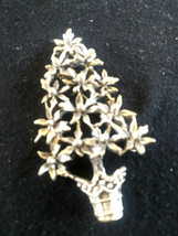 Vintage Signed Sterling Pewter P418 Christams Tree Made of Flowers Pin B... - $30.00