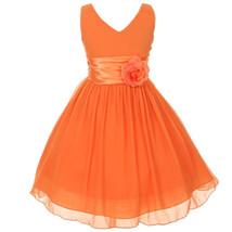 Orange V-Neck Sleeveless Bodice Flower Girl Dress Birthday Bridesmaid Party Prom image 1