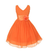 Orange V-Neck Sleeveless Bodice Flower Girl Dress Birthday Bridesmaid Party Prom - £27.17 GBP