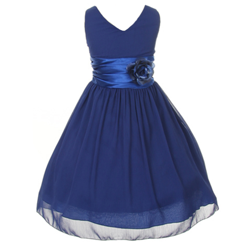 Orange V-Neck Sleeveless Bodice Flower Girl Dress Birthday Bridesmaid Party Prom image 2