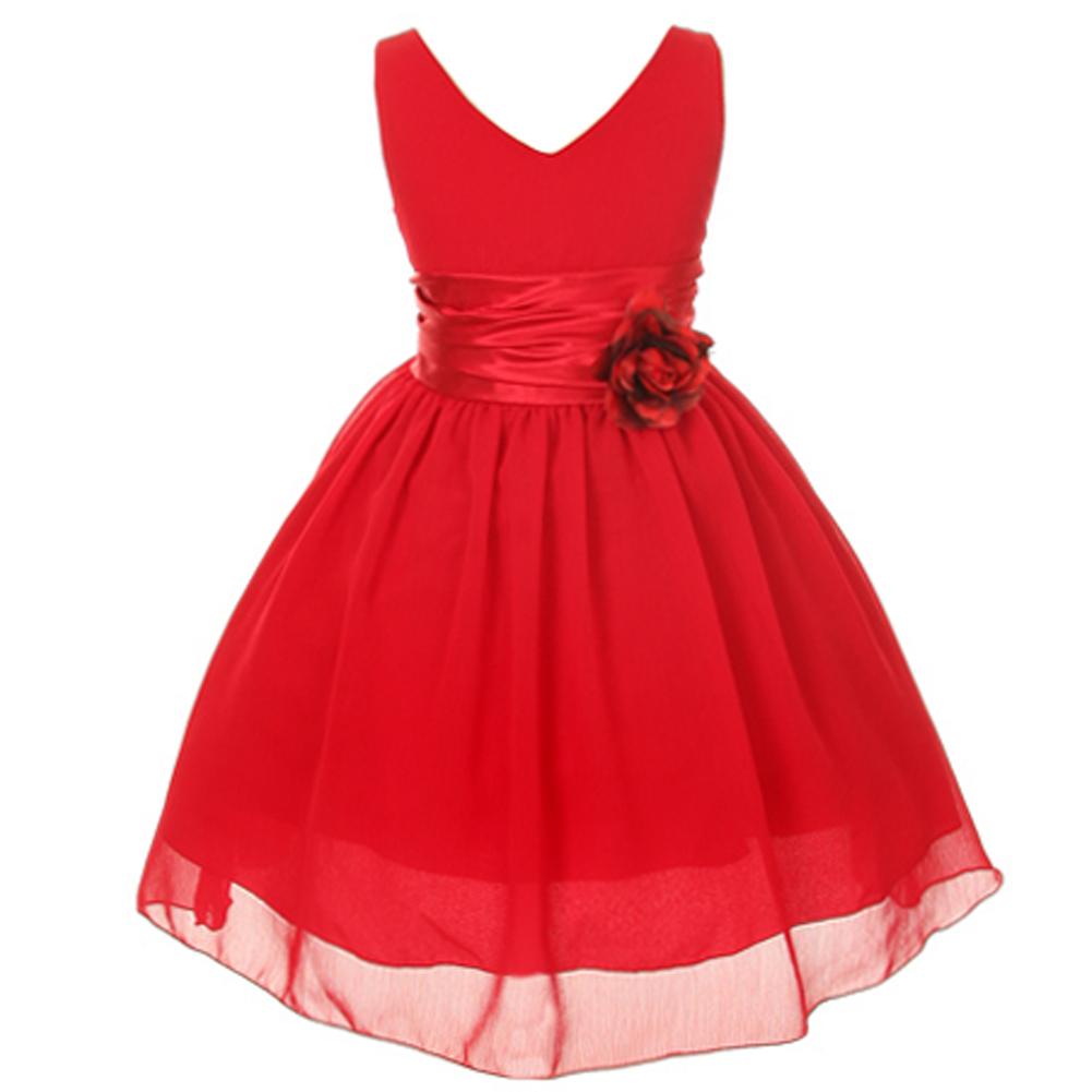 Orange V-Neck Sleeveless Bodice Flower Girl Dress Birthday Bridesmaid Party Prom image 3