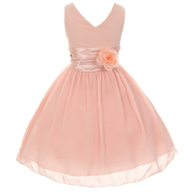 Orange V-Neck Sleeveless Bodice Flower Girl Dress Birthday Bridesmaid Party Prom image 4