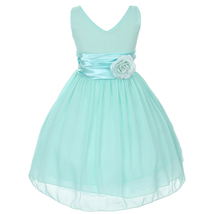 Orange V-Neck Sleeveless Bodice Flower Girl Dress Birthday Bridesmaid Party Prom image 6
