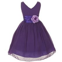 Orange V-Neck Sleeveless Bodice Flower Girl Dress Birthday Bridesmaid Party Prom image 9