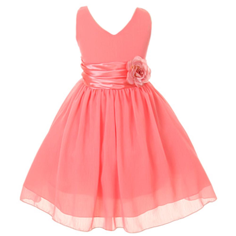 Orange V-Neck Sleeveless Bodice Flower Girl Dress Birthday Bridesmaid Party Prom image 10