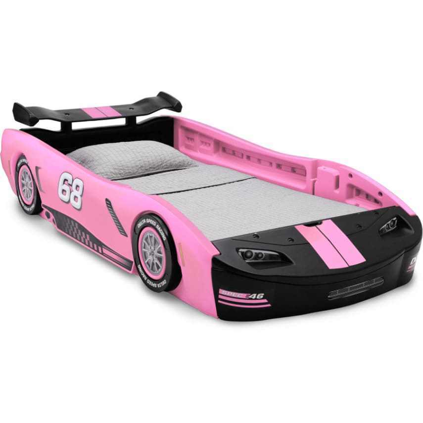 Girls Race Car Bed Pink Bedroom Furniture Kids Toddler Bed