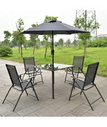 6PCS Patio Garden Set furniture 4 Folding Chair... - $225.71