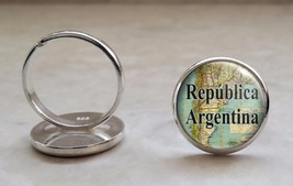 Choose South American City or Country Vintage Map 925 Sterling Silver Ring - $39.00