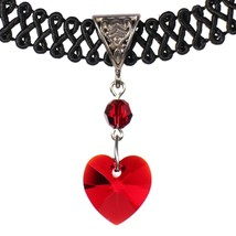 14mm Siam Red Swarovski Crystal Heart Pendant Choker Necklace - $20.99