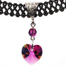 14mm Fuchsia Pink Swarovski Crystal Heart Pendant Choker Necklace - $20.99