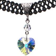 14mm Crystal Aurora Borealis AB Swarovski Crystal Heart Pendant Choker N... - $20.99