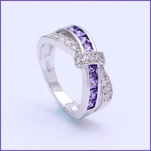 Amethyst & Diamond Domestic Violence Awareness Black or White Platinum Gold Band