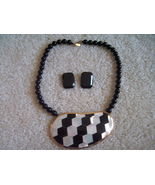 KARLA JORDAN White Mother of Pearl and Black Onyx Art Dco style NECKLACE... - $95.00