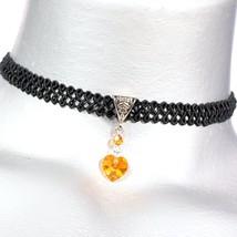 Astral Pink Topaz Swarovski Crystal Heart Pendant on Swirl Ribbon Trim Choker - $18.99+