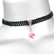 Pink Rose Swarovski Crystal Heart Pendant on Swirl Ribbon Trim Choker - $18.99+