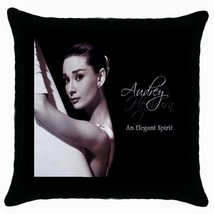 Audrey Hepburn Photo Black Cushion Cover Throw Pillow Case-NEW - $15.00