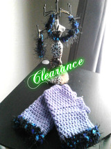 Purple Crochet Fingerless Gloves & Earrings Set - $12.00