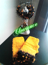 Orange Fingerless Gloves & Hoop Earrings Set - $12.00