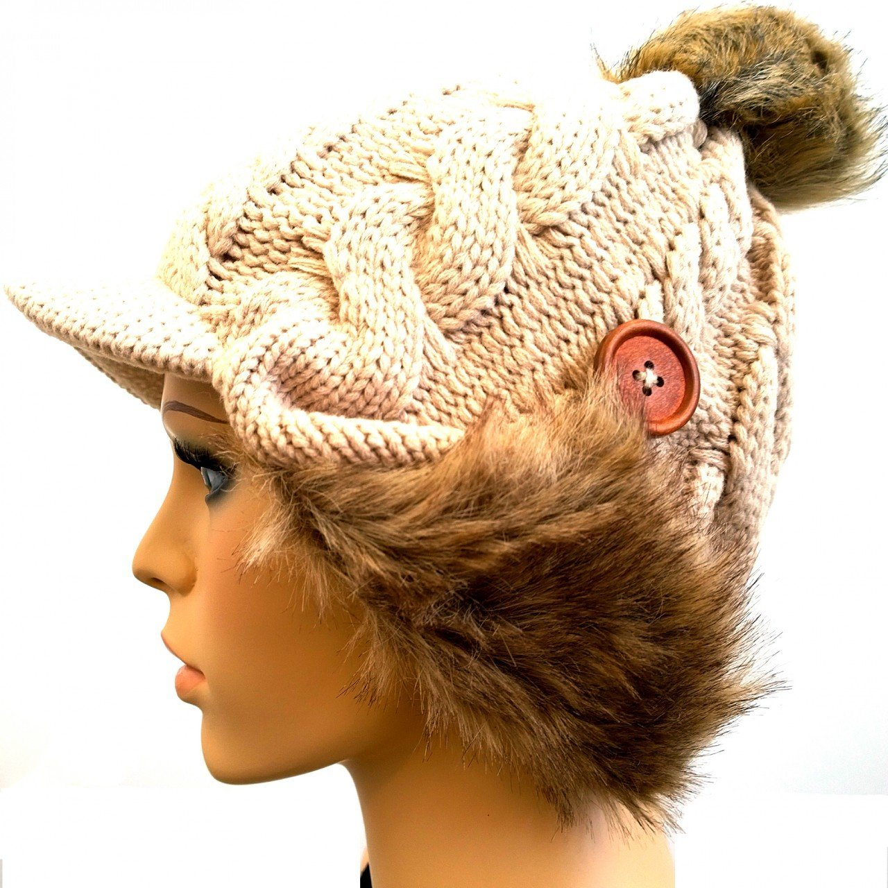 Stylish Winter Knit Hat with Faux Fur and Button Accent (Beige)