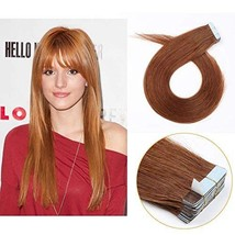 Medium Auburn Tape in Extensions Human Hair, Re4U 20inch Invisible Silky... - $39.03