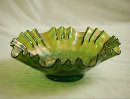Antique Fenton Green to Amethyst Carnival Glass Coin Dot Bowl 3 -1 Crimp... - $49.49