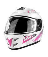 DOT Motorcycle Helmet Full Face Gloss White & Pink - $39.50