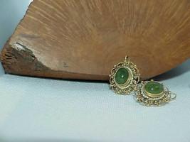 Vintg 14k Cabochon Jade Jadeite Seed Pearl Earrings Filigree Wires Yello... - $485.09